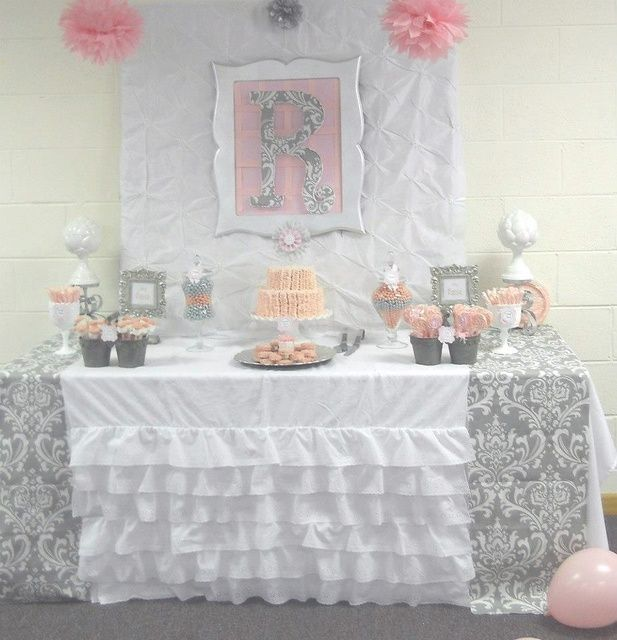 Photo 1 Of 29: Pink + Grey Damask Baby Shower / Baby Shower/Sip