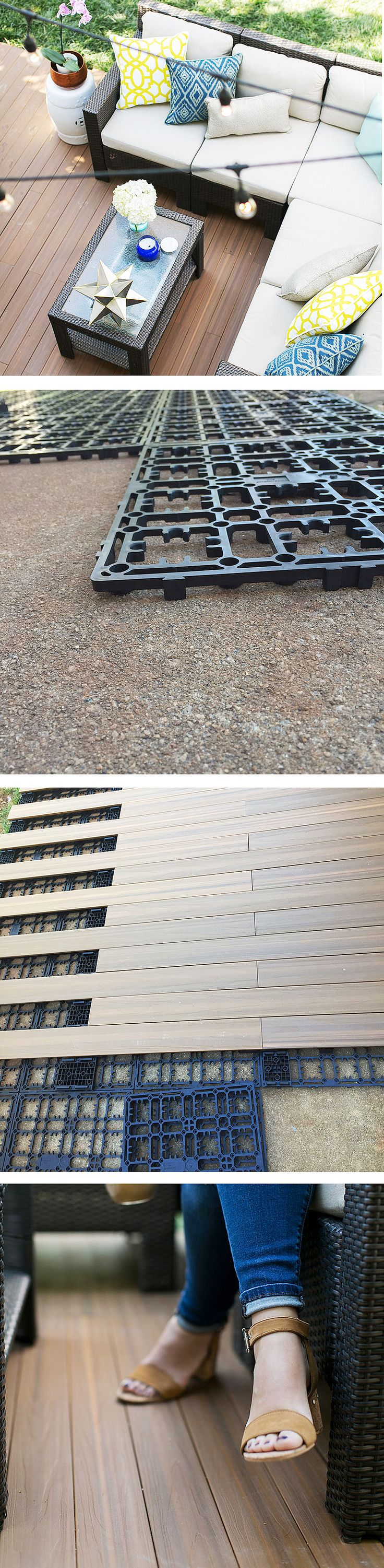 Laying deck flooring on a concrete slab patio turns it into an elegant outdoor space. Courtney Clymer of Lifestyled Atlanta shows how she layed planks on her patio. See it on The Home Depot Blog.
