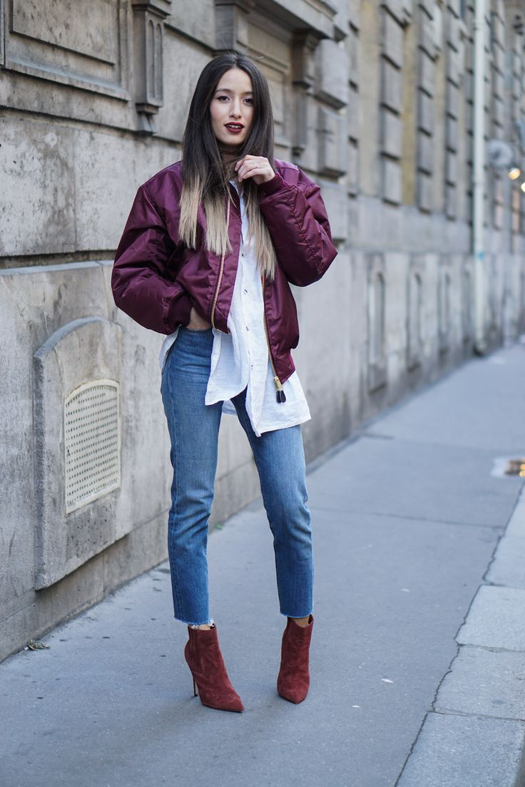 Missguided silky padded bomber jacket oxblood bordeaux burgundy $56.53 (sale $40.38) + Levi's wedgie fit jeans + white shirt + ASOS ECLECTIC Suede Western Pointed Ankle Boots heeled burgundy $66   Alex's Closet