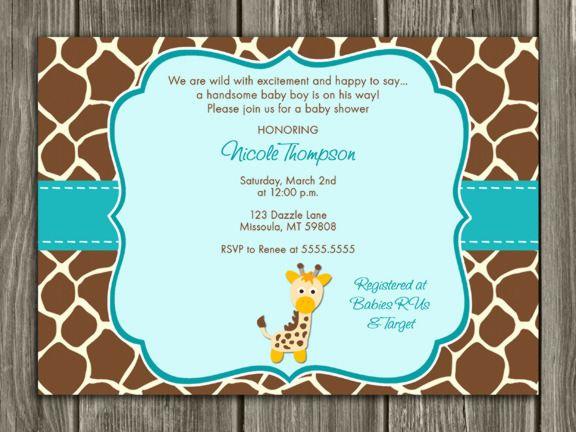 printable giraffe baby shower invitation baby boy baby sprinkle invitation neutral gender