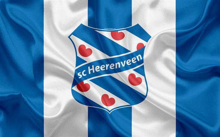 Download wallpapers SC Heerenveen, 4K, Dutch football club, logo, emblem, Eredivisie, Dutch soccer championship, Groningen, Netherlands, silk texture, Heerenveen FC
