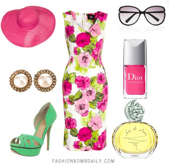 """Love this look. Claire of """"The Fashion Bomb"""" put it together for her """"what to wear"""" section of the blog. This was for the Kentucky Derby"""