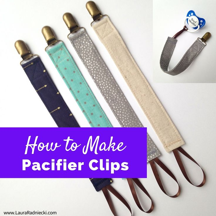 A DIY tutorial showing how to make a pacifier clip out of fabric scraps, ribbon, and a metal clip. Learn how to make easy DIY pacifier clips.