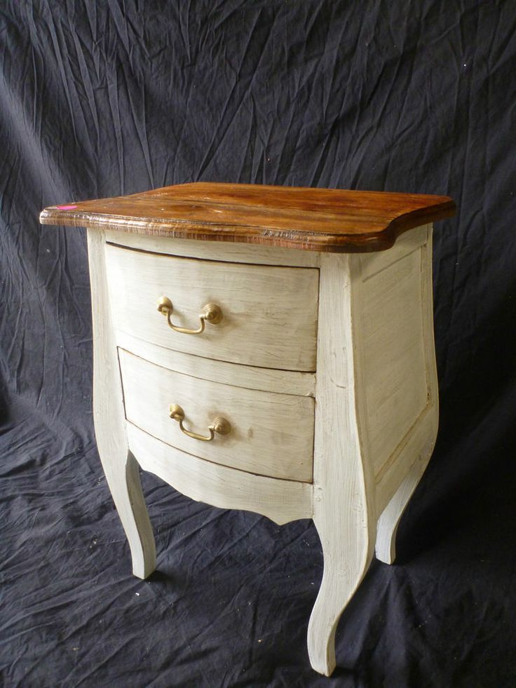 French Provincial Recycled Timber Wooden Bedside Lamp Side