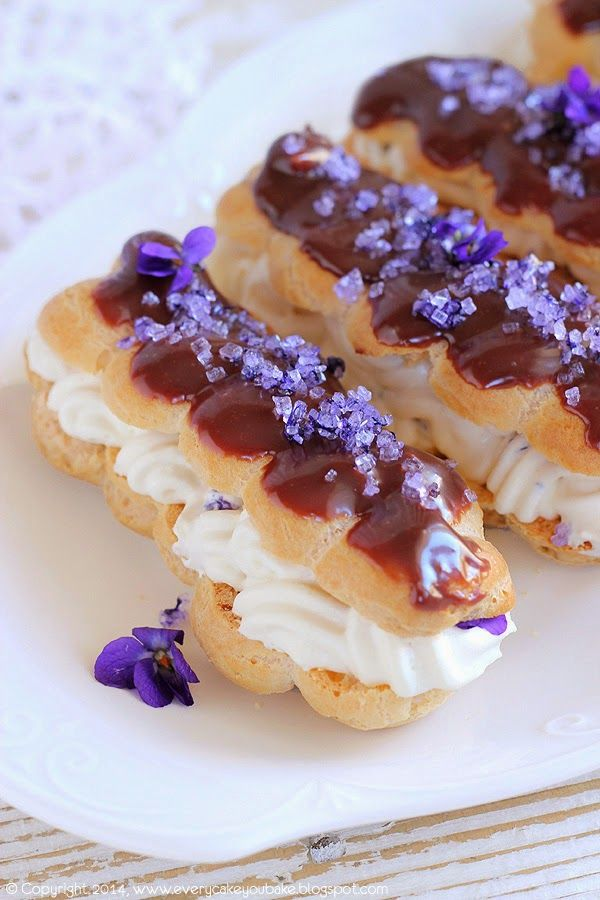 Candied Violet Eclairs