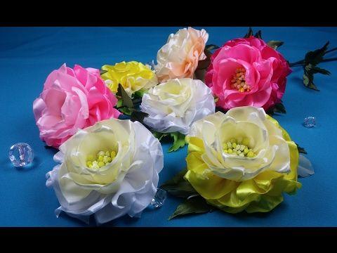 Easy ribbon flowers/Simples flores de las cintas/Простой цветок из лент - YouTube