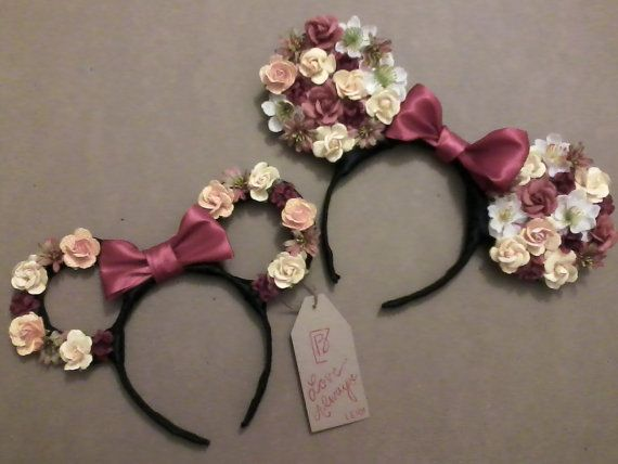 Minnie Mouse Floral Ear Headband by LOVEALWAYSLEI on Etsy