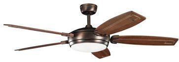 """Kichler 300156OBB Trevor 60"""" Indoor Ceiling Fan 5 Blades - Remote, Light transitional-ceiling-fans"""