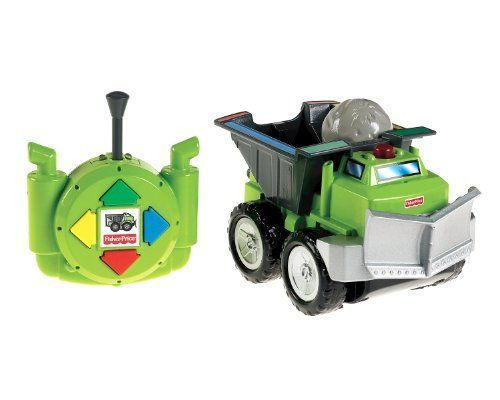 Fisher-Price Big Action Remote Control Drive 'n Drop Dump Truck by Fisher-Price. $39.99. From the Manufacturer                Introducing the Big Action Remote Control Drive 'n Drop Dump Truck. The easy-to-use RC Controller steers the truck in 4 directions - forward, back, right and left - with 4 color-coded buttons related to colors on the truck. The Dump Truck has great realistic details and a cool front plow too. The vehicle has tank steering and it slows down as...