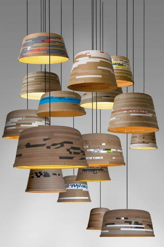 Cardboard Lamp in recycled lamps