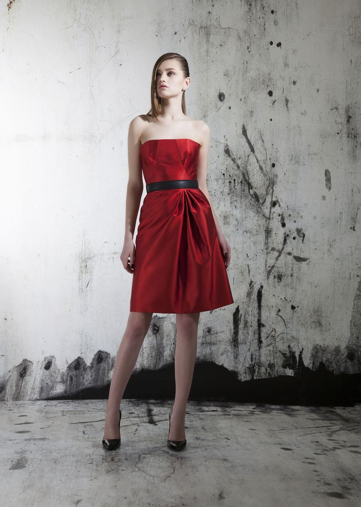 red strapless cocktail dress fashion style fashionable
