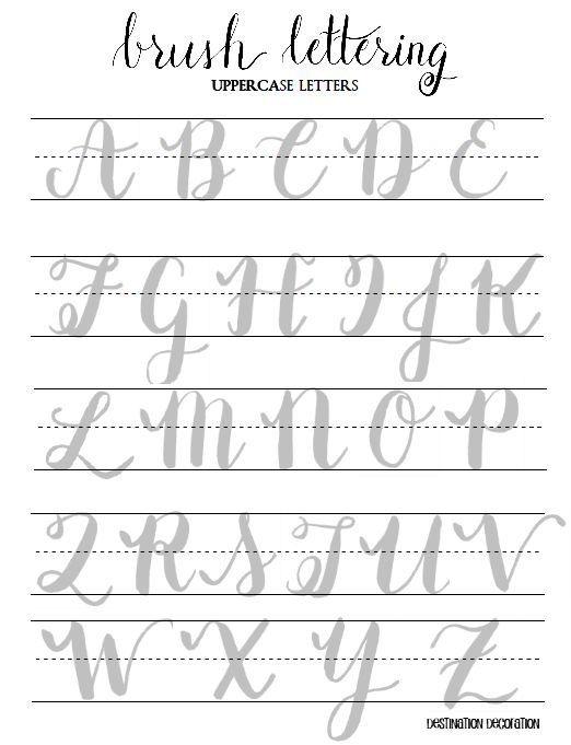 Brush Lettering Practice Worksheets Uppercase por StunningScript