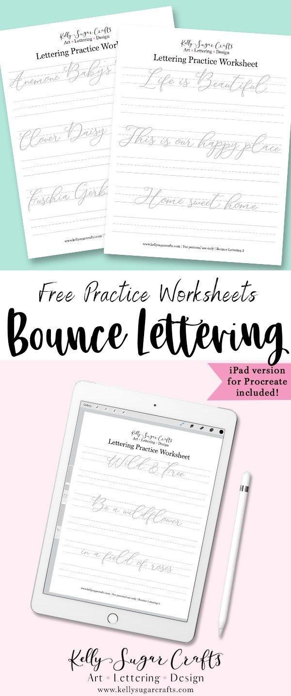 Free Bounce Lettering Worksheets ver  2 | Bullet Journal