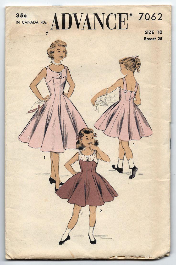 195 best vintage patterns for girls images on pinterest vintage advance 7062 lovely yoked princess dress clothing patternsvintage sewing jeuxipadfo Gallery