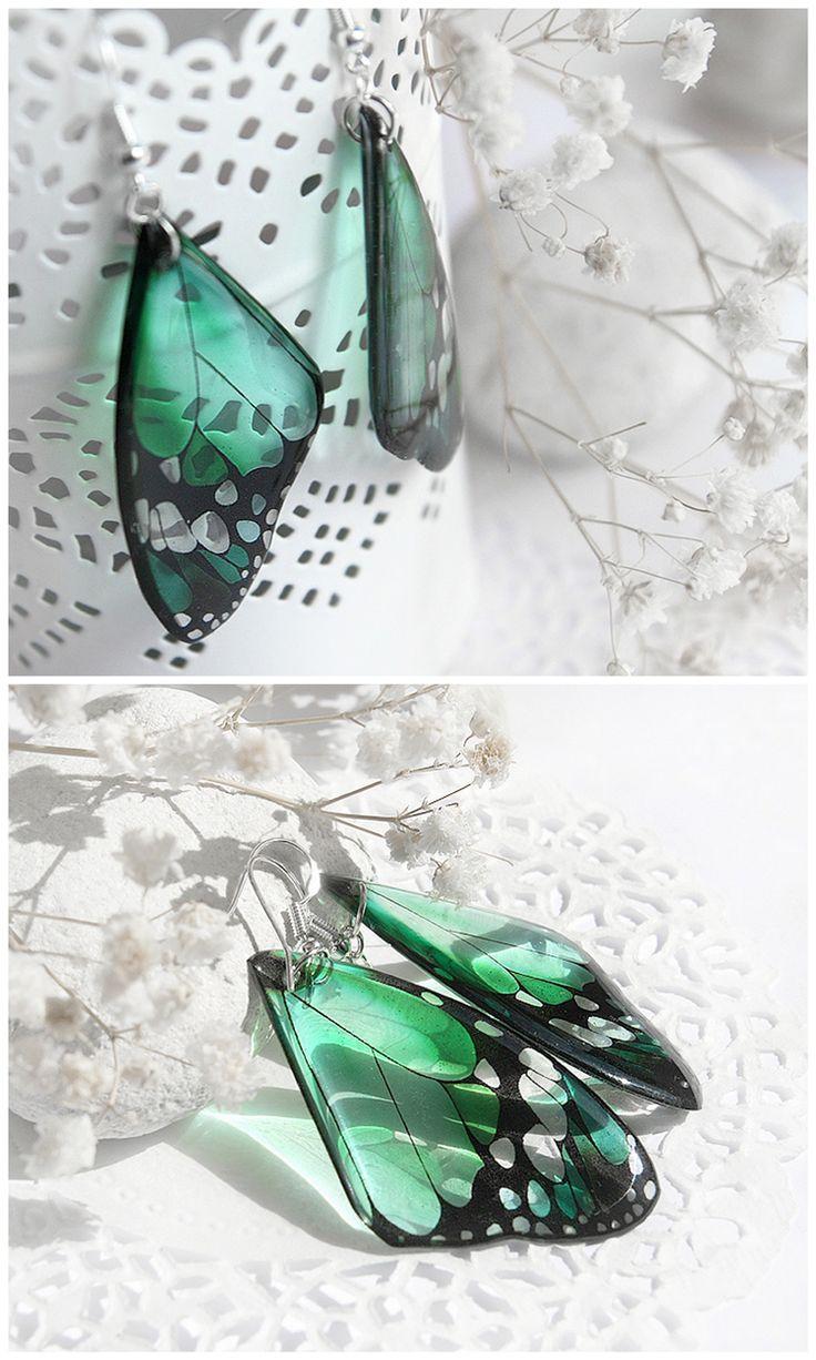 Mint butterfly earrings • Summer jewelry • Gift for girlfriend