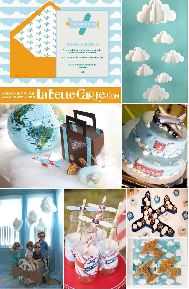 Invitaciones Infantiles, Invitaciones para fiestas Infantiles, Cumpleaños de aviones, fiesta de