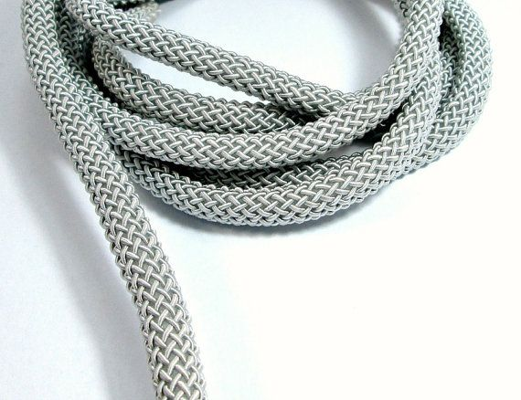 Braided Larousse silk cord 9mm grey thick cord 1m by OandN on Etsy  #cord #rope #jewelry #crafting