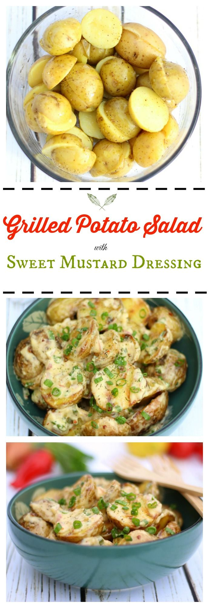 This grilled potato salad with sweet mustard dressing is an incredibly tasty side dish for your summer cookout! ribaswithlove.com