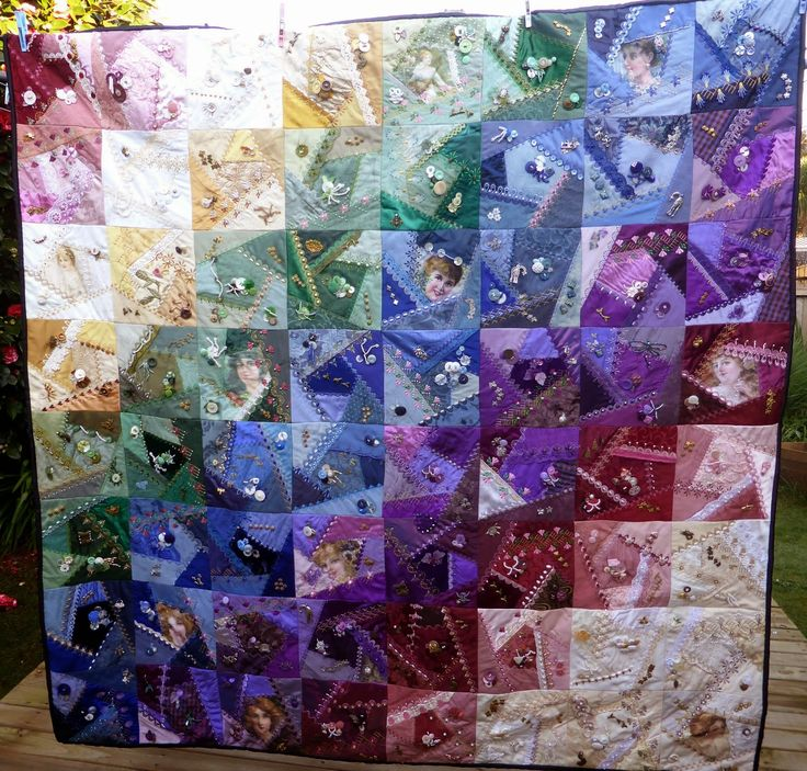 Crazy Quilt Pattern Fabric : elaborate rainbow crazy quilt, on vicki s fabric creations blogspot Quilts Pinterest ...