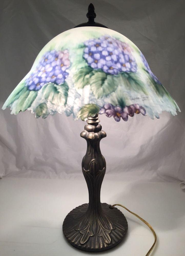 Glynda Turley Reverse Hand Painted Tiffany Style Shade Lamp