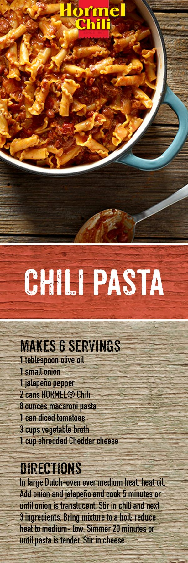 For a game-changing game day food, try One Pot Chili and Cheese Pasta. It'll melt the competition and the cheese. Bring it to your next tailgate.  | HORMEL® Chili Recipe | Chili Nation | One Pot Meals | Quick and Easy Recipes | One Pot Chili and Cheese Pasta | Dinner | Lunch | Potluck | Easy for group recipe