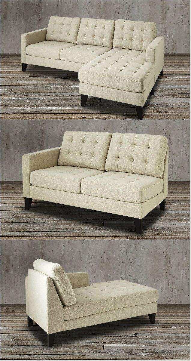 This 2-piece left arm facing sectional sofa is what your living room needs. Features taupe beige poly/linen upholstery, tapered solid wooden legs in espresso finish, and coil springs in the seat pads for additional support and comfort. Suits french country, traditional or classic interior design.