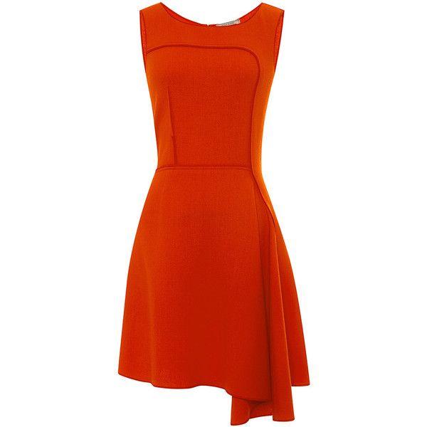 Nina Ricci Asymmetric-Hem Wool-Crepe Dress (€500) ❤ liked on Polyvore featuring dresses, red asymmetrical dress, red dress, red crepe dress, nina ricci and red wool dress