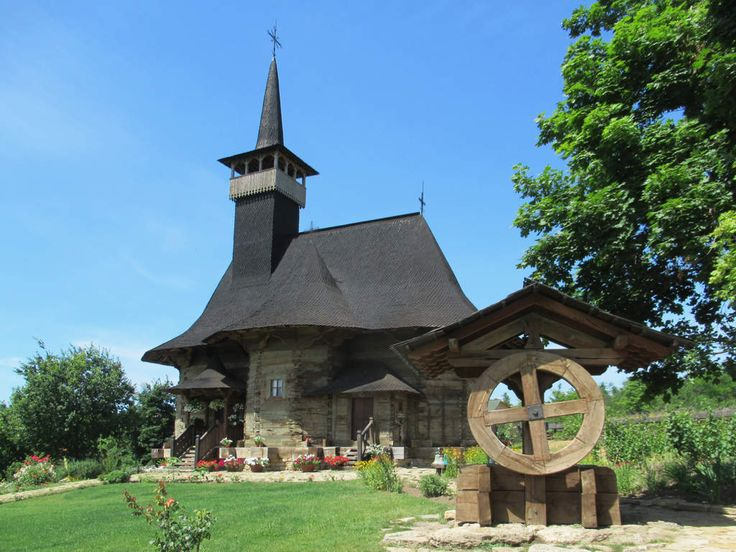 Wooden Lemn Orthodox Church (1642) from Hiriseni, Moldova, has been relocated to the Village Museum on the south side of Chisinau.