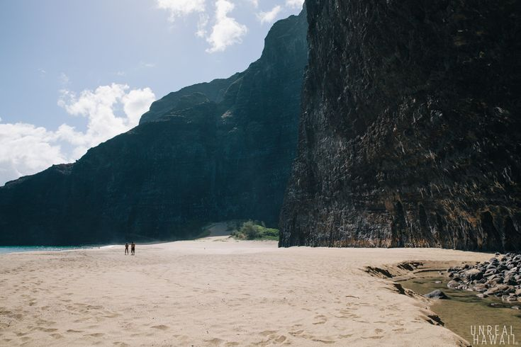 Sheer rock faces on Honopu Beach, Kauai, Hawaii