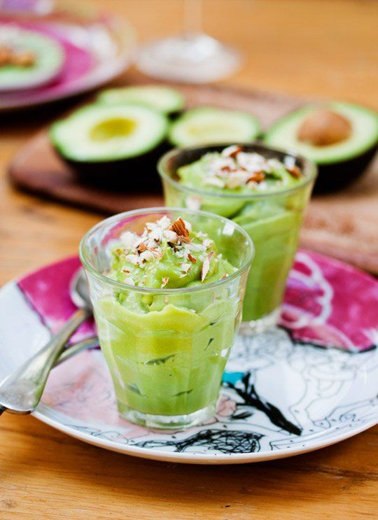 avocado breakfast pudding  1 ripe avocado 1/2 cup of milk  1 TBS honey 2-3 TBS of granola or crushed almonds  Scoop avocado into a blender or food processor. Add 1/2 cup of milk. Add the honey and blend until smooth. Garnish with granola or almonds. You can also chill for about an hour for a refreshing coolness.