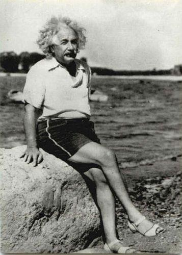 Albert Einstein on the beach