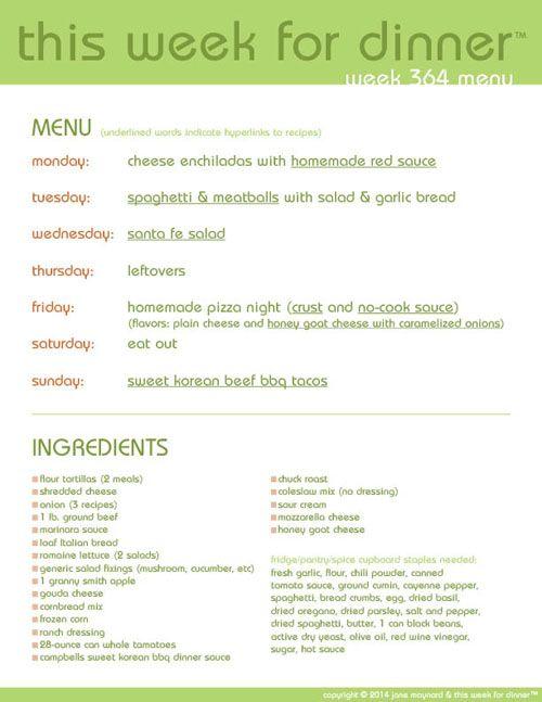 Week 364 Menu {New Free Printable Menus!} - This Week for Dinner - Weekly Meal Plans, Dinner Ideas, Recipes and More!