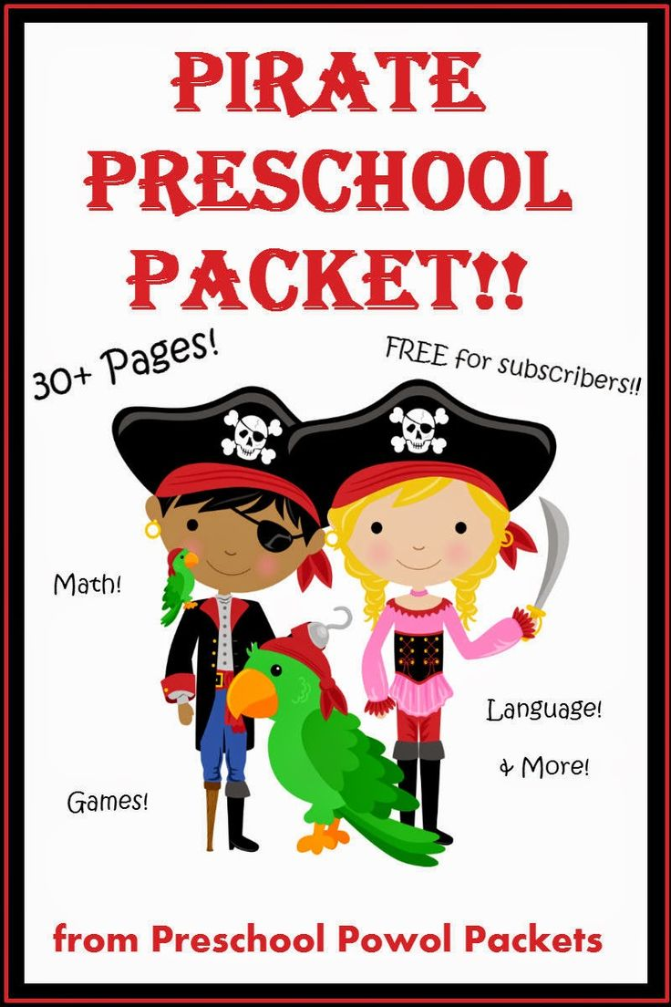 Super cute learning fun!  30+page Pirate Preschool Packet {FREE} for subscribers!