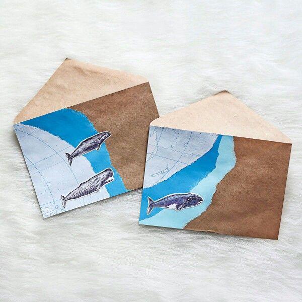 Оформление конвертов с помощью старых геокарт