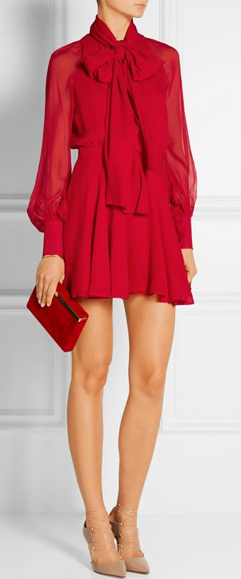 pussy-bow silk-chiffon mini red dress #valentines #outfit #idea