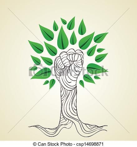 Vectors Illustration of Go Green hand concept tree - Hand draw ...