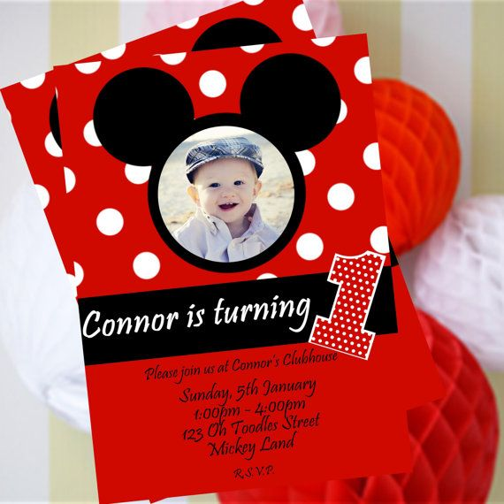 Mickey Mouse Invitation, Mickey Mouse Birthday Invite, Mickey Mouse Party Printables, Disney, + FREE Matching Thank You Card!