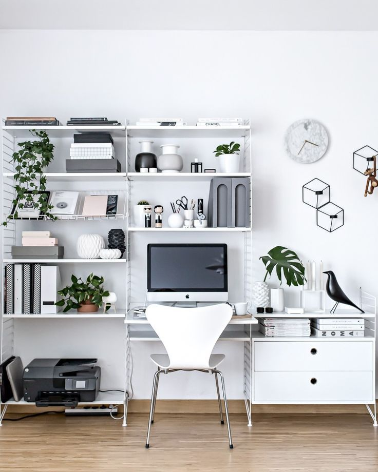Home Office - Scandinavian Workspace | http://www.my-full-house.com | String Furniture shelving system, Fritz Hansen Series 7 Chair by Arne Jacobsen, green life in everyday space