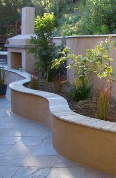 2 foot high block and stucco wall with stone cap - Google Search