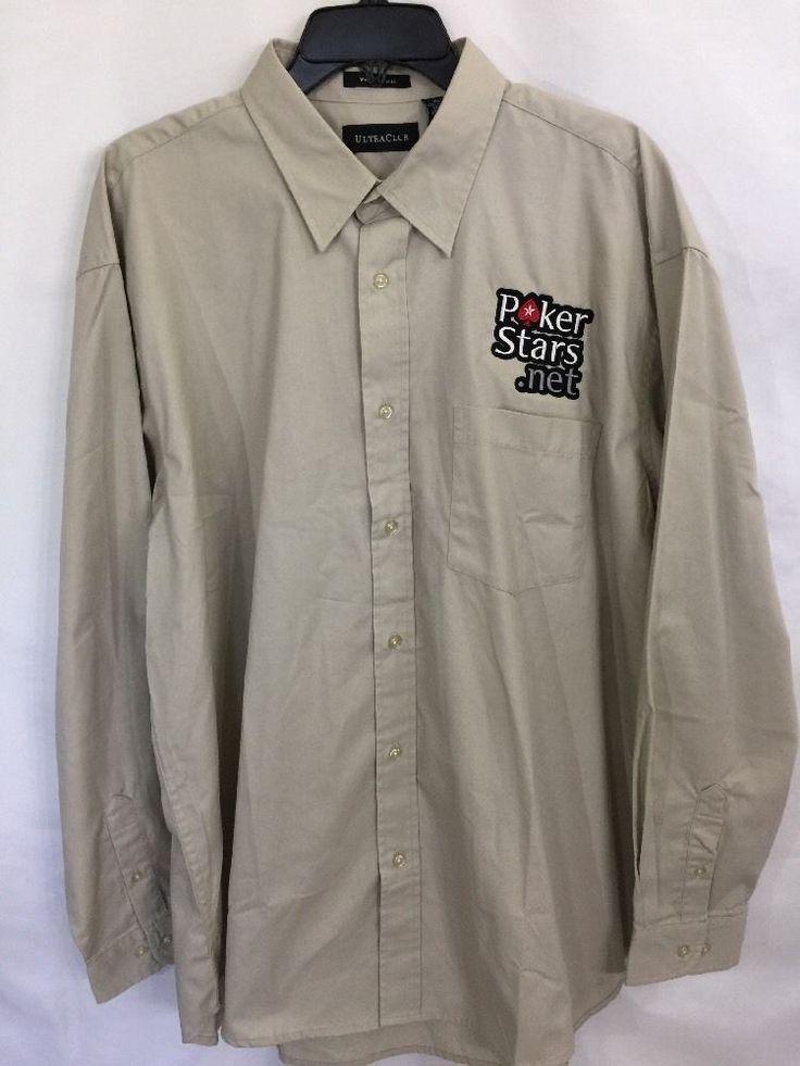 POKERSTARS.NET Shirt Size XL Long Sleeve Button Front Khaki Poker Stars .Net #UltraClub #LongSleeveShirt