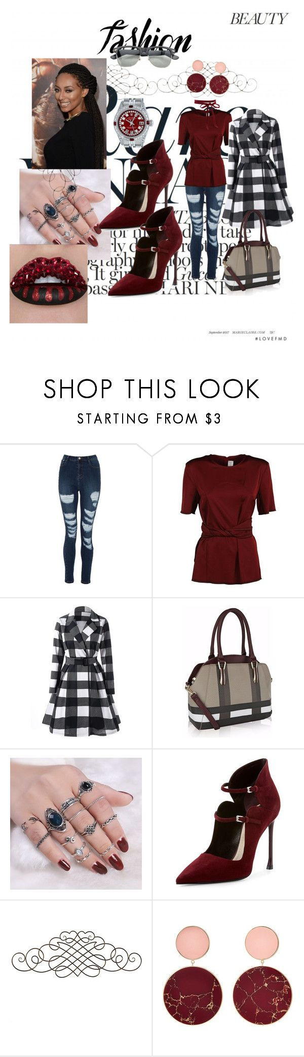 """plaid fashion"" by delpilardiazfiorela ❤ liked on Polyvore featuring Victoria Beckham, MKF Collection, Christian Dior, Midwest of Cannon Falls, Diesel, Joanna Laura Constantine, Rolex, red, plaid and wine"