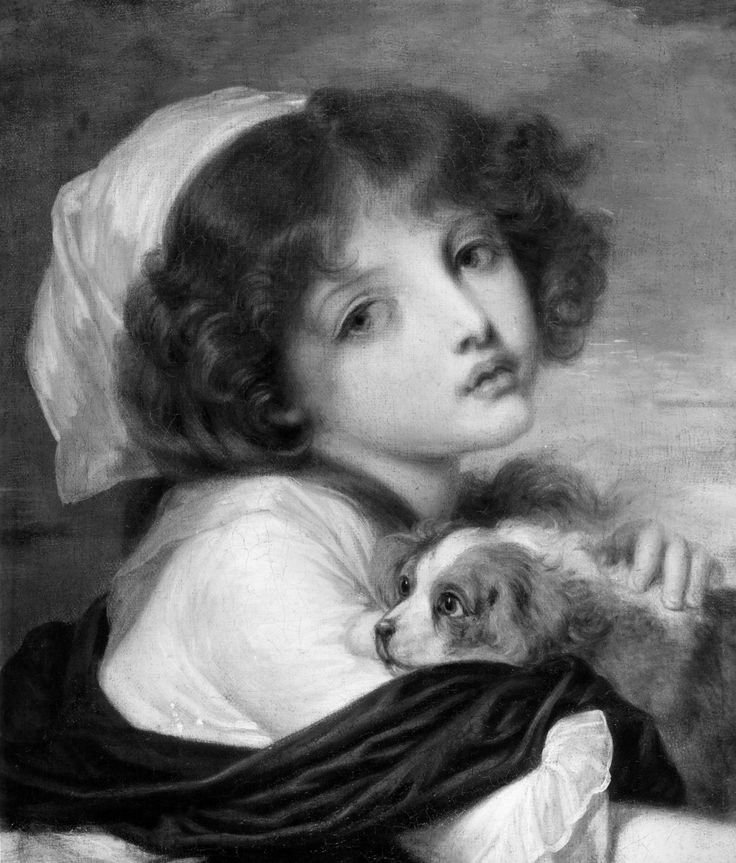 """Attributed to Jean-Baptiste Greuze (1725–1805), """"A Young Girl with Her Dog,"""" 18th century. Oil on canvas, 18 1/2 x 15 in. Photographed in April 1991 on the art market in New York City. The Frick Collection / Frick Art Reference Library Photoarchive. #girlsbestfriend #welovedogs #fricklibrary"""