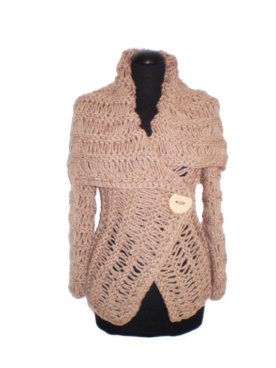 Wikkel trui bruine trui handgemaakte truien vest door FedRaDD