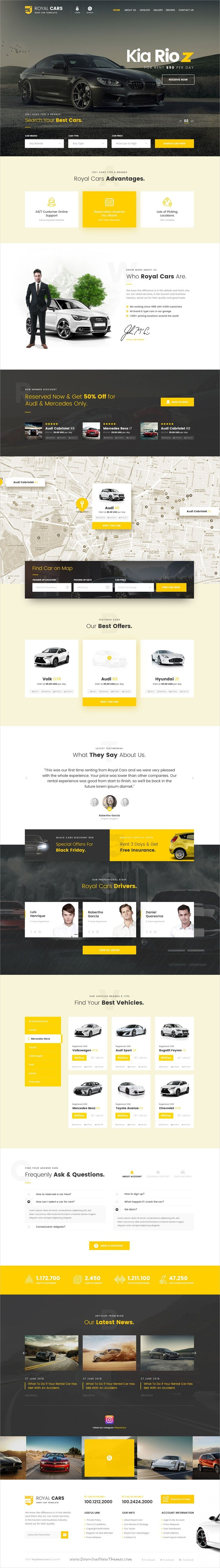 Royal Cars is clean and modern design #PSD template for #car #rental and #sale website with 15 layered PSD pages to live preview & download click on Visit
