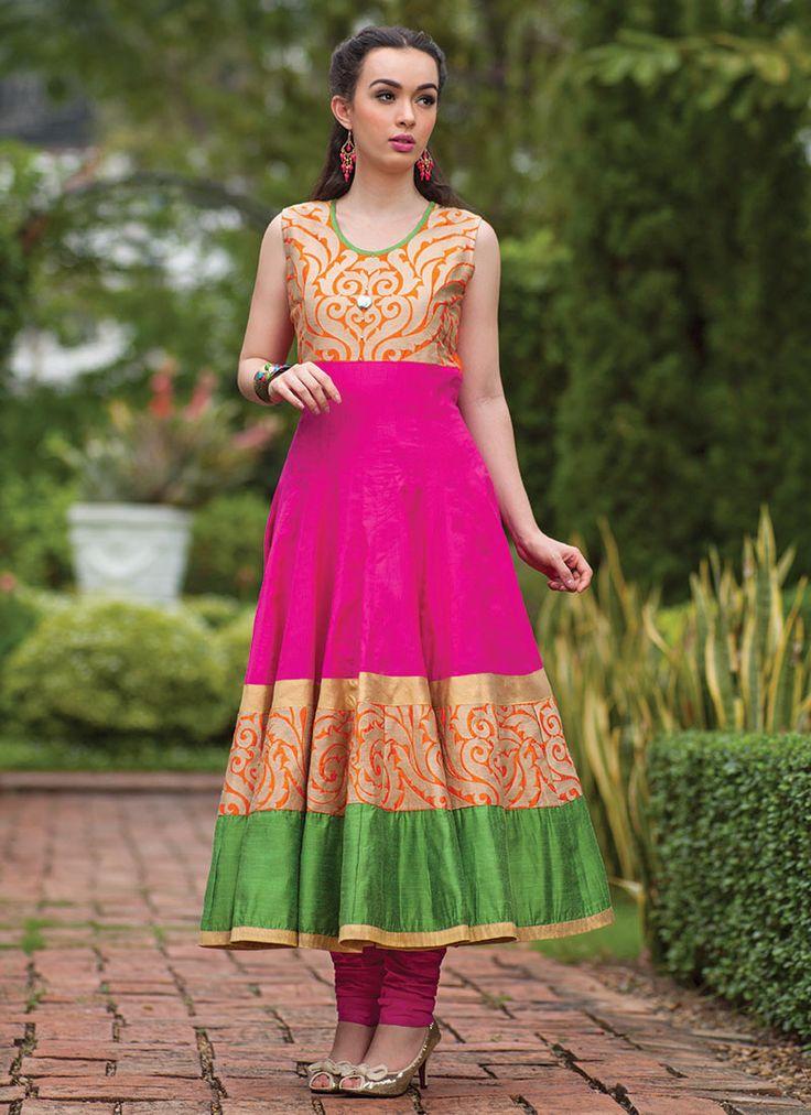 Cotton Silk Anarkali Suit