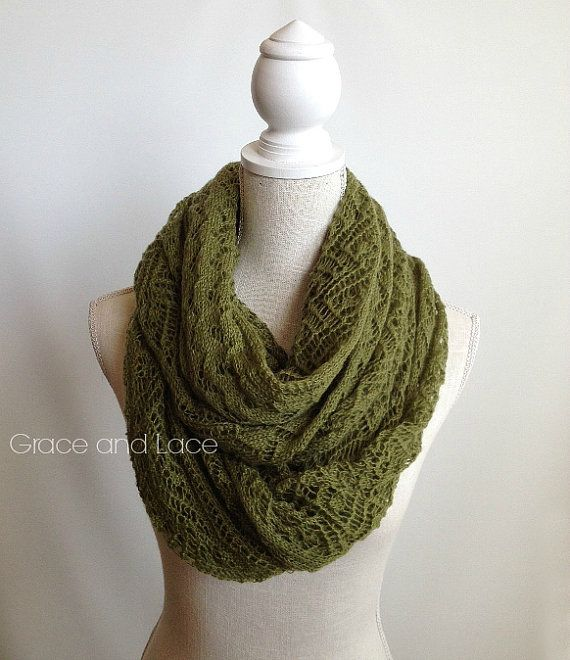 Infinity Scarf Knitting Pattern Mohair : Lace Knit Scarf - OLIVE green lace scarf - infnity scarf ...