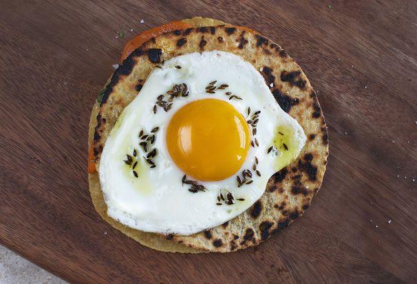 Sweet Potato and Cilantro Quesadilla with Fried Egg + Cumin Oil by CarolineWright