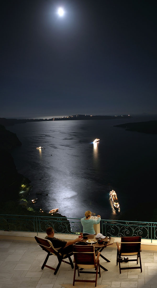 Moonlit Santorini, Fira view