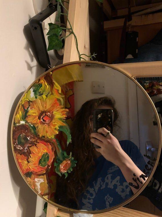 Van Gogh Sunflowers Hand Painted 29cm Mirror In 2020 Mirror Painting Hand Painted Mirrors Mirror Art