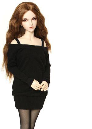 JID_Girl Black knit dress. Одежда BJD